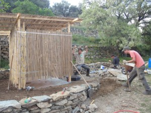 tinos ecolodge shower construction
